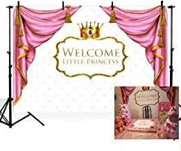 MEHOFOTO Welcome Little Princess Baby Shower Party Decorations Photo Studio Booth Background Pink Curtain Gold Crown Girl Backdrops Banner for Photography 7x5ft