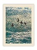 Hawaii - Póster de viaje con aerolíneas Panamericanas de World Airways - Hawaiian Surfer Boys – Vintage Airline por Ivan Chermayeff c.1971 – Tela orgánica RAW de 45,7 x 60,9 cm