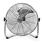 Futura High Velocity Floor Fan Large 20 Inch 50cm 110W Max Power Chrome Fan, Adjustable Heavy Duty 3 Speed Floor Standing Cooling Fan Portable Ideal for the Gym Hydroponic, Durable Tubular Steel Construction, 1.4m Cable Length, Rubber Feet