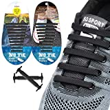 EZIGO 10+10 No Tie Shoelaces Upgraded Elastic Shoelaces for Adults/Kids Tieless Elastic Shoe Laces Waterproof Rubber Shoelaces for Sneakers Boots and Casual Shoes 20 Shoelaces Black