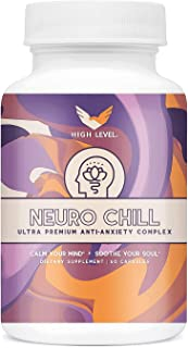 High Level NeuroChill | Ultra Premium Stress Relief and Mood Enhancer Supplement | Occasional Anxiety Support, 60 Capsules | L-Theanine, 5-HTP, Valerian, Lutein, Vitamin B1 B2 B5 B6, St. John's Wort