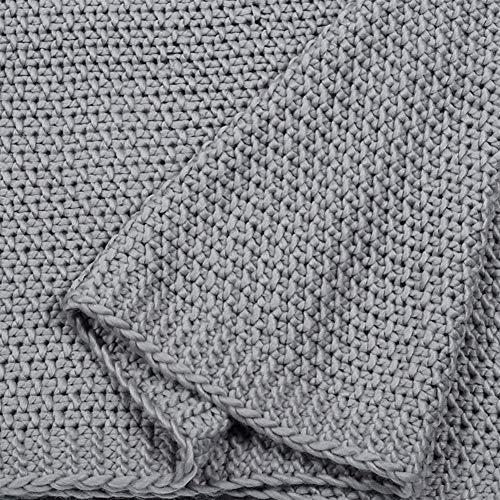 Manta de algodón de Trama Decoración de Cama de algodón de Punto la Manta del Tiro Superior Peinados de algodón Cubierta Couch (Color : Gray, Size : 230x230cm)
