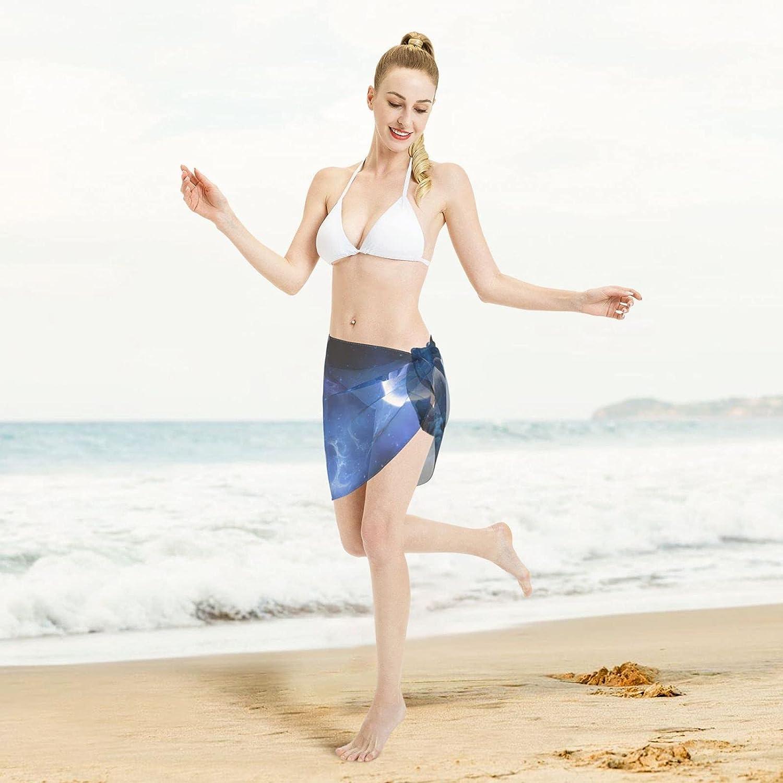 Arctic Wolf Fantasy Animal Moon Women Short Sarongs Beach Wrap Sheer Sexy Short Skirt Bikini Scarf Chiffon Cover Ups for Swimwear Black