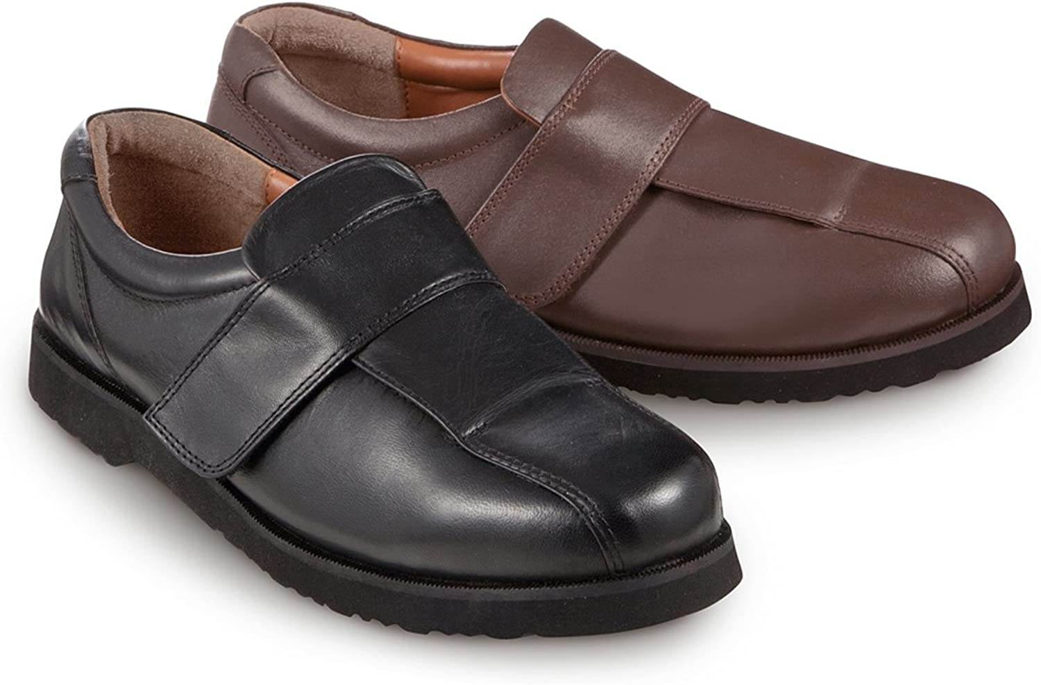 Mens Leather Wide Opening Touch Fasten Shoe