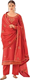 فستان نسائي كلاسيكي عصري مستوحى من أجواء الاحتفالية من الحرير Tusser Straight Salwar Kameez باكستاني طراز بوليوود 6087