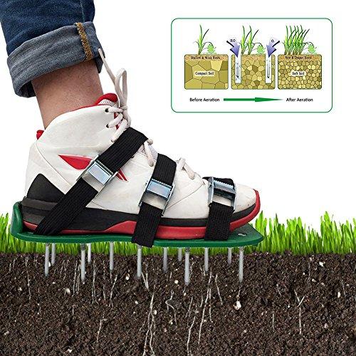 Somedays Rasenbelüfter Vertikutierer Nagel-Schuhe Rasen Universal Rasenlüfter 30 * 13 cm,EIN Paar Rasen Belüfter Schuhe (8 PCS) + eine Reihe von Schrauben (26 PCS) + EIN Schraubenschlüssel (Grün)
