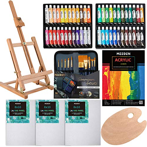 MEEDEN 64-Piece Acrylic Painting Set - Solid Beech Wood Table Easel, Canvas Panels, Acrylic Paintbrush Set, 48×22ML Colors Acrylic Paint Tubes, Acrylic Pad, Wood Paint Palette, Perfect Gift for Kids