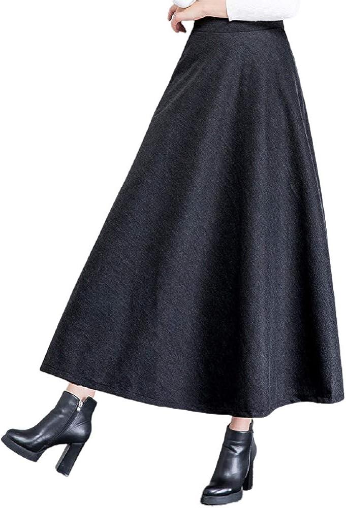 CHARTOU Women's Woolen Elastic Waist Solid A Line Ruffled Swing Maxi Long Skirt