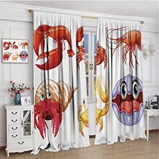 Modern Blackout Curtain W72 x L96 Inch,Insulating Room Darkening Blackout Drapes for Bedroom,Crabs,Illustration of Sea Animals like Crab Hermit Crab Lobster Shells Shrimp Print,Orange Yellow