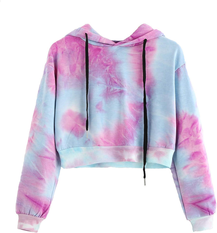 HUILAN Women's Tie Dye Print Sweatshirt Long Sleeve Crop Top Hoodies