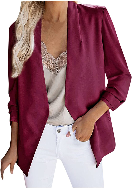 Clearance!! Coat Jacket Women's Silk Satin Jacket Formal Cardigan Pockets Work Office Suit Coat