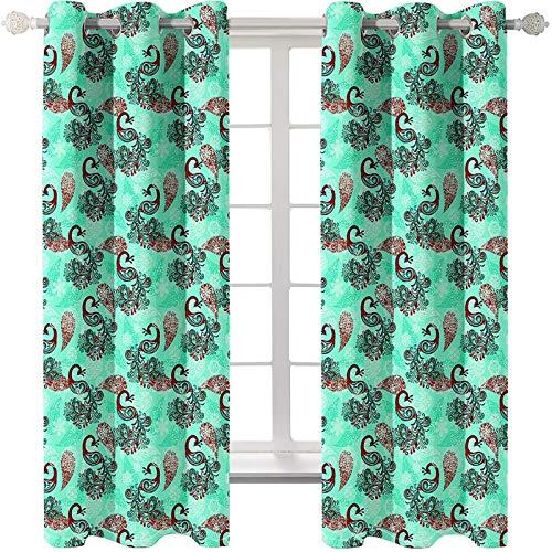 AmDxD 2 paneles de cortinas opacas de poliéster, cortinas opacas para dormitorio, cortinas de pavo real, lavable a máquina, verde rojo, 250 cm de ancho x 240 cm de largo