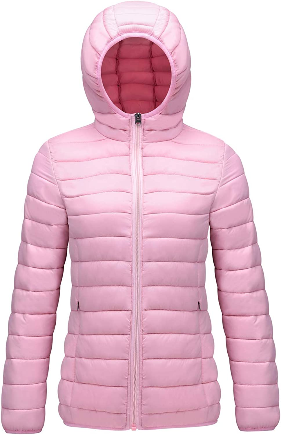 SUNDAY pink Women's Packable Jacket Lightweight Hooded Puffer Outerwear Coat