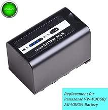 VW-VBD58 AG-VBR59 1 Pack 5600mAh 7.4V Battery Replacement for Panasonic VBD58, VBR59, AG-3DA1 AG-AC8 DVC30 DVX200 HPX171 HPX250 HPX255 HVX200 HVX201 AJ-PX270 PX298 UX180 UX90 MDH2 X1000 Z10000 Camera.