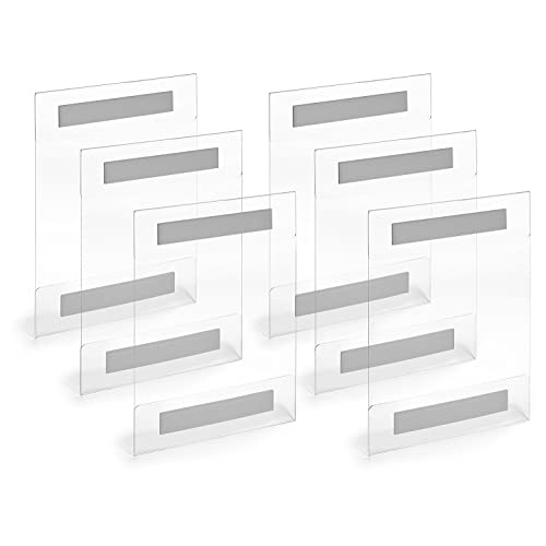 8.5 x 11 Acrylic Sign Holder Clear Wall Mount Adhesive No Drilling 6 pack