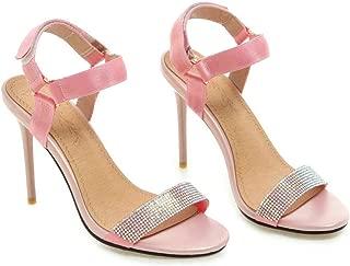 Women Sandals Pu Leather Thin High Heel Rhinestone Peep Toe Slingback Hook&Loop Summer Pumps 34-43
