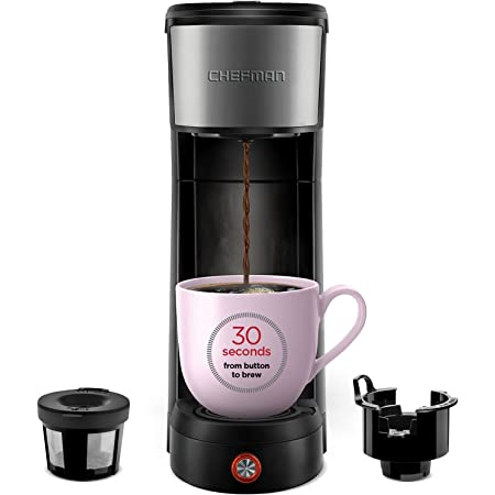 Chefman InstaCoffee Single Serve Coffee Maker Brewer, Compact 14 oz, Black/Stainless Steel, Mug Not Included