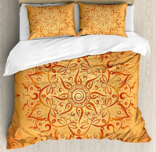 Ambesonne Lotus Duvet Cover Set, Sun Pattern with Ombre Effect Mandala Culture Print, Decorative 3 Piece Bedding Set with 2 Pillow Shams, Queen Size, Orange