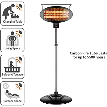 sundate Electric Outdoor Heater, Halogen Patio Heater, Electric Waterproof Space Radiant Heater with 3 Power Levels, 1500W