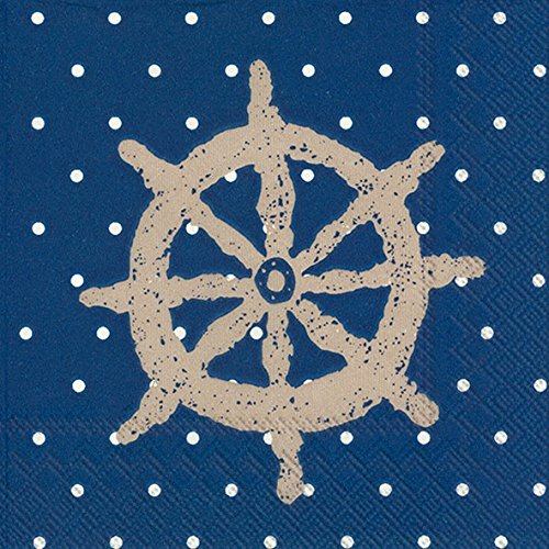 Boston International Lot de 20 serviettes de table en papier 3 plis Motif yacht Club Bleu