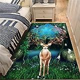 Alfombra Niña Habitacion verde cojin suelo grande Elk pattern, moderno, minimalista, ligero, de lujo, para sala de estar, alfombra, alfombras para el piso del dormitorio, se pueden lavar y personaliza