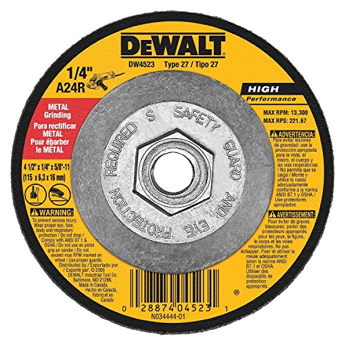 Dewalt DW4523 12 Pack 4-1/2-Inch by 1/4-Inch by 5/8-Inch General Purpose Metal Grinding Wheel