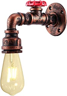 KAWELL Industrial Water Pipe Wall Sconce Steampunk Vintage E26 Edison Wall Lamp Water Pipe Wall Light Iron Metal Water Pipe Style Wall Lamp Light Fixture for Corridor Cafe Bar Home Rust