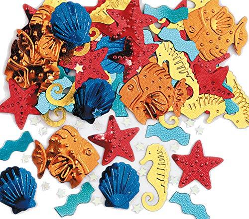 Ocean-Party: Lot de 250 confettis métalliques SEA Life - Décoration scintillante pour anniversaire ou fête à thème - Coquillages, poissons, étoiles de mer, hippocampes, vagues