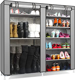 TXT&BAZ 27-Pairs Portable Boot Rack Double Row Shoe Rack Covered Nonwoven Fabric (7-Tiers Silver Grey)
