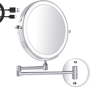 Amelar 8 Inch Wall Mounted Makeup Mirror USB Rechargeable LED 3 Color Lights Two Sided 1X/10X Magnifying Mirror Touch Swit...