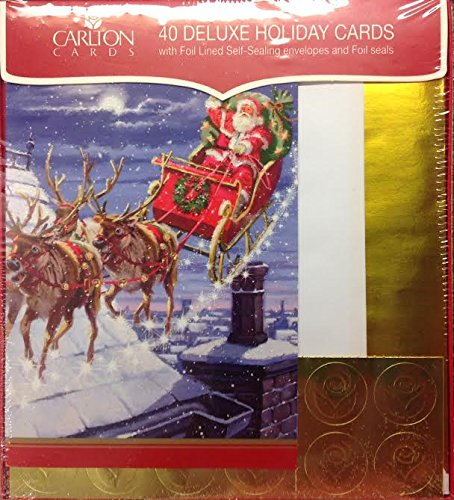 Elegant Glitter Accent Santa Clause with Reindeer Sled Traditional Christmas Holiday Cards - 4.75 X 7 Inch - Gold Foil Envelopes - (40)