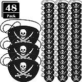 Parche de Ojo de Pirata de Fieltro Parche de Un Ojo de Capitán de Cráneo para Fiesta Temática de Pirata Halloween Navidad (48 Piezas)
