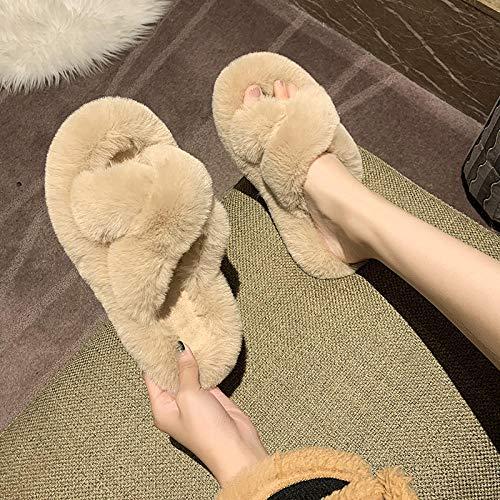 B/H Slipper Interiores y Exteriores,Zapatillas de algodón de Suela Gruesa de Moda, Zapatos caseros Antideslizantes Impermeables-C_36,Zapatilla Andar