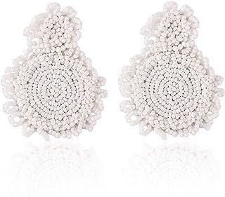 Statement Drop Earrings - Bohemian Beaded Round Dangle Earrings Gift for Women