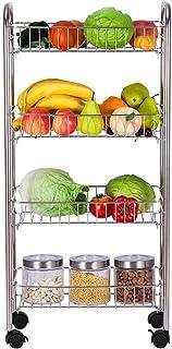 DUDDP Étagère cuisine Etagère de rangement for légumes avec roue universelle 4 étages en acier inoxydable Support de cuisi...
