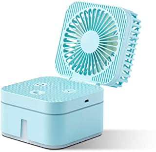 LUXNOVAQ Mini Ventilador USB Desktop Fan Ventilador Agua Nebulizador, Mesa Ventilador Refrigeracion Electrico Ventiladores Pequeño Humidificador Portatil Plegable para Oficina Habitacion Niña, Azul