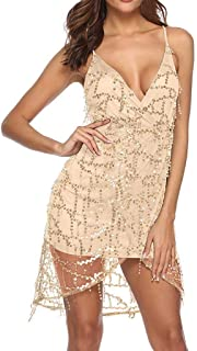 Sequin Dresses for Women, QIQIU 2019 Sling Halter Sleeveless V-Neck Mesh Hem Shining Party Prom Nightclub Mini Dress
