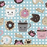 Ambesonne Cat and Mouse Fabric by The Yard, Repetitive Pattern of Kawaii Style Inspired Bakery Cakes and Animal Faces, Decorative Fabric for Upholstery and Home Accents, 1 Yard, Teal Pink