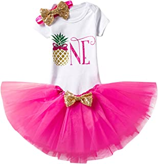 OBEEII First Birthday Baby Girl Outfits Romper Tulle Skirt Headband 3PCS Clothes Set