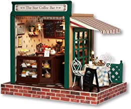 Rylai 3D Puzzles Miniature DIY Dollhouse Kit The Star Coffee Bar Series Dolls Houses Accessories with Furniture LED Music Box Best Birthday Gift