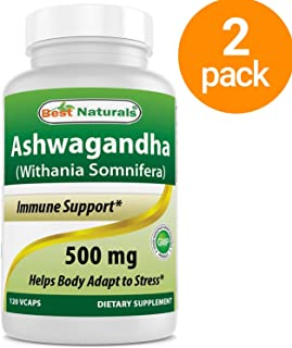 2 Pack - Best Naturals Ashwagandha Capsules for Relaxing Stress and Mood, 500 mg, 120 Count (Total 240 Capsules)