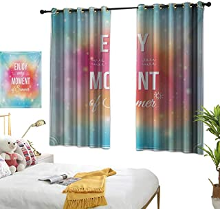 LsWOW Bedroom Curtains W55 x L72 Inspirational,Enjoy Every Moment of Summer Quote on Hazy Tone Background Artwork,Turquoise Pink Orange Design Curtains Home Furnishings Decor by