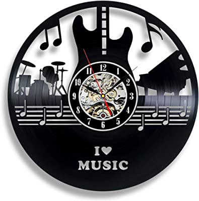 Tambours Vinyle Horloge Murale Cadeau pour Homme Guitare Horloge Horloge murale grande Batterie Cadeau
