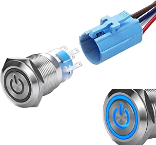 WerFamily Power Symbol 12V Blue LED 19mm Latching Push Button Switch 1NO 1NC SPDT ON/OFF Waterproof Stainless Steel Metal ...