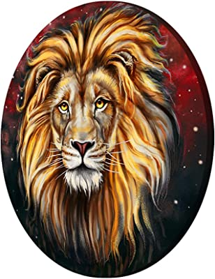 999Store Lion Face Brown Color Round Shape Wall Painting (MDF_11X11 Inch_Multi) RPainting034