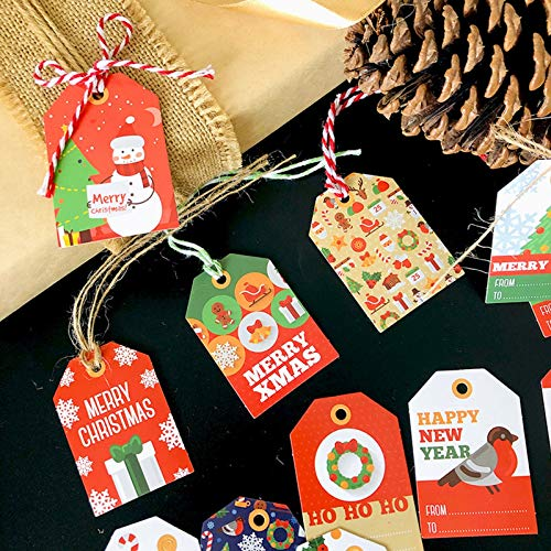 Christmas Paper Gift Tags Gift Tags,EC-Touch 96PCS Christmas Hanging Tags,12 Styles Paper Hanging Tags Labels with Pre-Punched Twine Strings for DIY Xmas Holiday Present Wrap Package Name Card (96pcs)