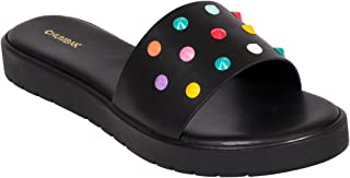 Chumbak Happy Studded Black Sliders