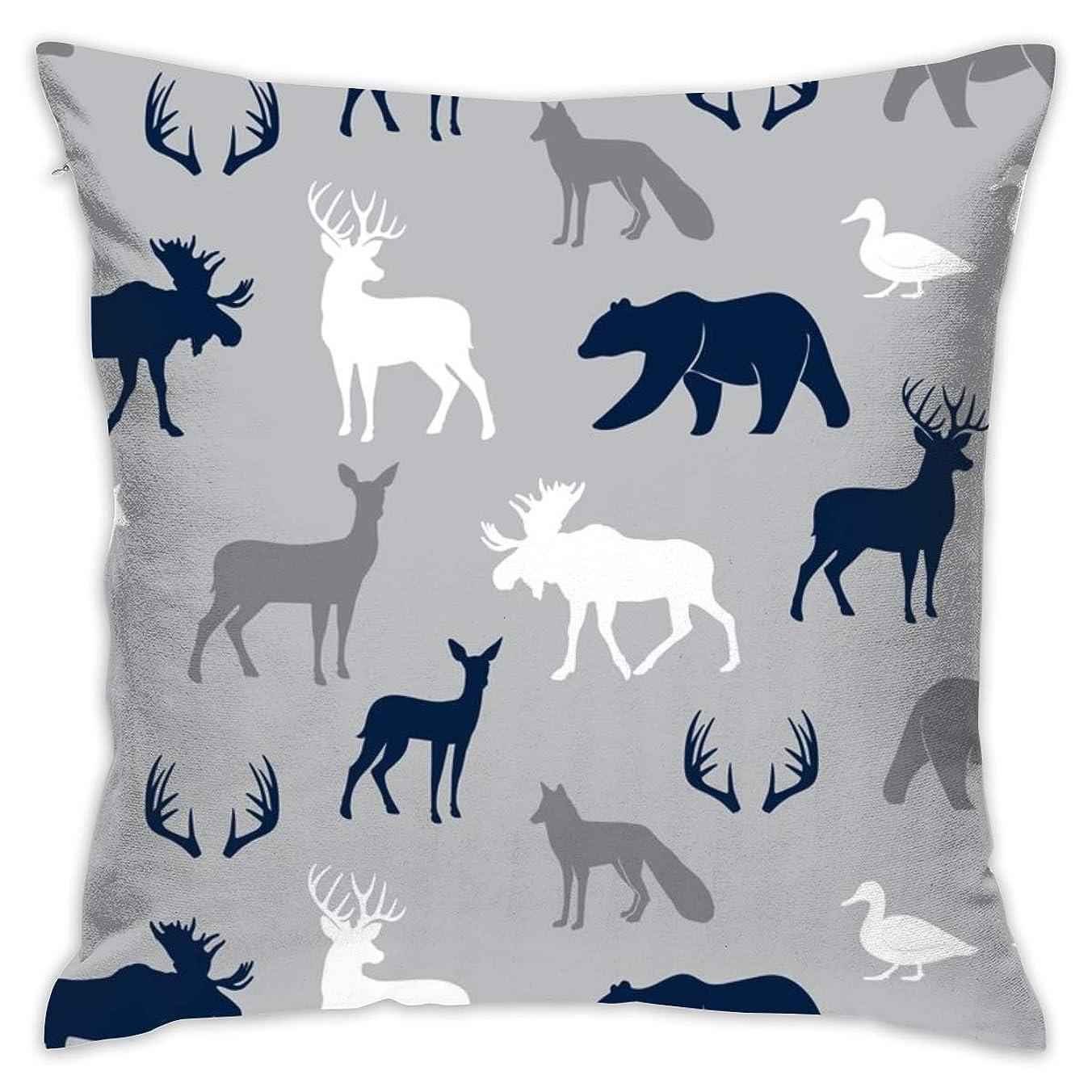 駐地アイザック分割(小規模)ウッドランド動物 - ネイビーとグレーLAD19装飾的な正方形の投球枕カバー18 x 18インチ45 x 45 cm