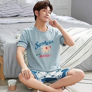 SKSNBQY Conjunto de Pijamas de Verano para Hombre, Conjunto de Camisa y Pantalones Cortos de algodón para Dormir, Pijamas con Letras, Pijamas para el hogar, Conjunto Informal de Dos Piezas
