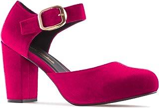 De Tacón Mujer Zapatos Para esGranate Amazon ErxBdWCoeQ